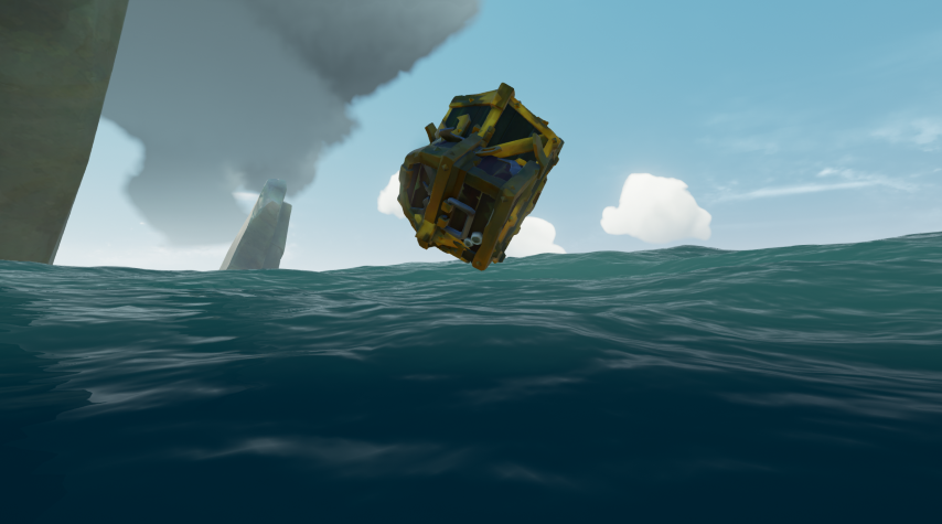 A flying blob of treasure in Sea of Thieves