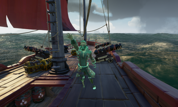 A friendly ghost waving in Sea of Thieves